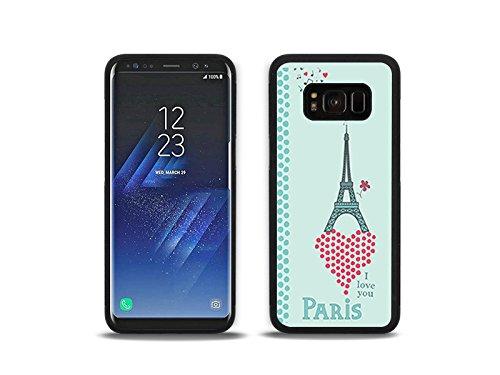 etuo Samsung Galaxy S8 - Hülle Hybrid Fantastic - Eiffelturm und Herz - Handyhülle Schutzhülle Etui Case Cover Tasche für Handy