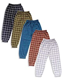 T2F Boys' Regular Fit Cotton Checkered Track Pants (Pack of 5)