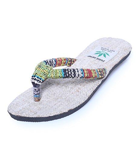zehent reter sandali da donna 'Rainbow Style'-spiaggia San Dale in canapa, multicolore (multicolore), 42 EU