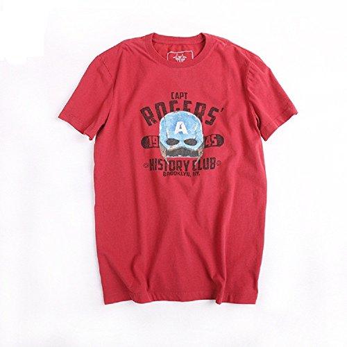 BOMOVO Herren BLAU GRUN Softstyle, Adult Ringspun T-shirt Rot