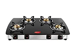 Pigeon Blackline Smart 4 Burner Glass Top Gas Stove, Black