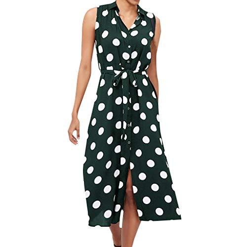 iHENGH Damen Sommer Rock Lässig Mode Kleider Bequem Frauen Röcke Boho Kleid Polka Dot Prints V Ausschnitt Taille Lace Up ärmelloses Kleid(Armeegrün, M) (Girls Yellow Polka Dot Kleid)