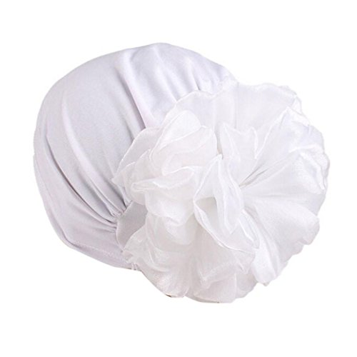 Kopftuch für Frauen Damen Chemotherapie Hut Beanie Schal Turban Kopf Wrap Cap Soft Schal für Haarausfall, Krebs, Chemo Therapie Pre Tie (Weiß) (Seide Kopf Binden)