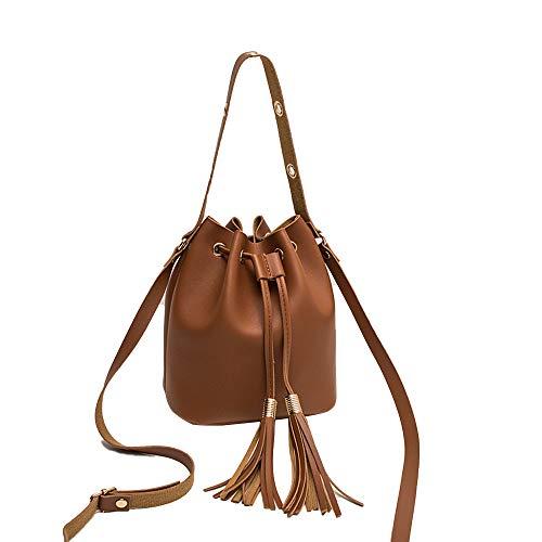 XIAOJING Neue Mode Frauen Solide Elegante Taschen Candy Farbe Schulter Kleine Rucksack Quaste Eimer Tasche Crossover Tasche für Mädchen Schule