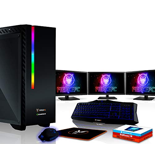 Fierce Hawk High-End RGB Gaming PC Bundeln - Schnell 4.3GHz Octa-Core AMD Ryzen 7 2700X, 2TB HDD, 16GB, NVIDIA GeForce RTX 2080 8GB, Windows 10, Tastatur (VK/QWERTY), Maus, 3X 24-Zoll-Monitore 903158