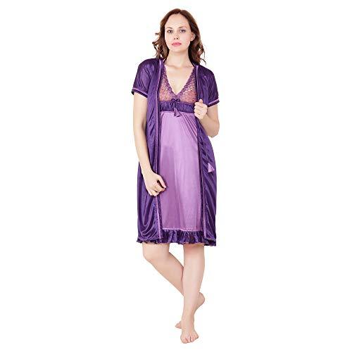 Kanika Women Satin Purple Free Size Nighty with Robe