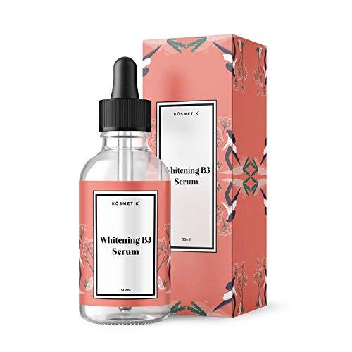 KÖsmetik Whitening B3 Serum 30 ml, weniger Pigmentflecken, ebenmäßiger Teint - Akne Flecken Creme