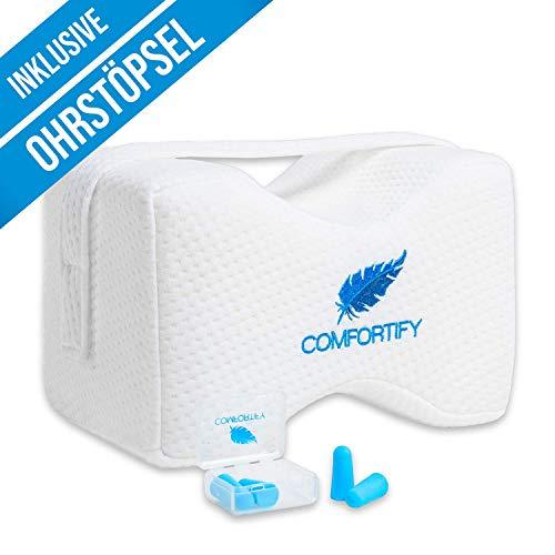 COMFORTIFY® Kniekissen für Seitenschläfer inkl. Ohrstöpsel und anpassbarer Schlaufe - Orthopädisches Beinkissen - Sorgt für Druckentlastung und eine ergonomische Schlafposition