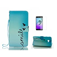 Case For Galaxy J5 2017 [With Tempered Glass Screen Protector],Fatcatparadise(TM) Anti Scratch Flip Soft Silicone Back Cover Case ,Colorful Cute Pattern Design Flip Magnetic Premium PU Leather Credit Card Folio Holder Wallet Case For Galaxy J5 2017 (Smile
