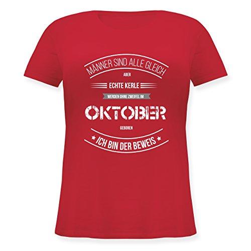 Geburtstag - Echte Kerle Werden IM Oktober Geboren - Lockeres Damen-Shirt in Großen Größen mit Rundhalsausschnitt Rot