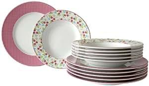 Schirnding 4910/10155/3812 Potpourri Service de table 12 pièces Style campagne Rose