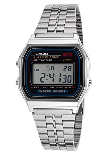 Casio Unisex Digital Watch with Stainless Steel Bracelet A159W-1D