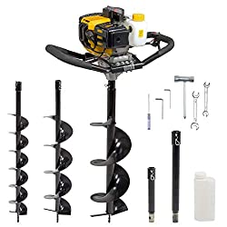 Wolf 52cc Petrol Auger 2-Stroke Earth Ground Drill + 3X Drill Bits (100/150/200mm Dia) 2X Extensions