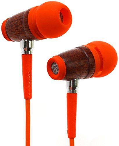 Symphonized Kinder Ohrhörer | Lautstärke Reguliert Aus Premium Holz Mit Mikrofon Kopfhörer Echtholz - Orange