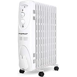 Aigostar 33IEJ - Radiateur à bain d'huile portable. 11 éléments, 2300 W. 3 niveaux de puissance et thermostat réglable. Couleur: gris clair. Design exclusif.