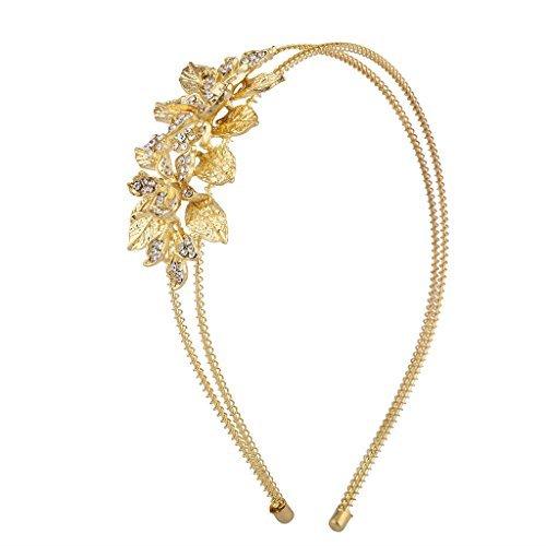 Lux Accessories oro cristallo STRASS fascia floreale foglia 2fila Coil