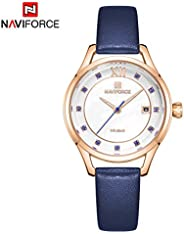 Naviforce Women's White Dial PU Leather Chronograph Watch - NF5010-R