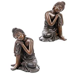 Wood Effect Buddha Head on Knee, 2 Assorted Designs Sold Separately