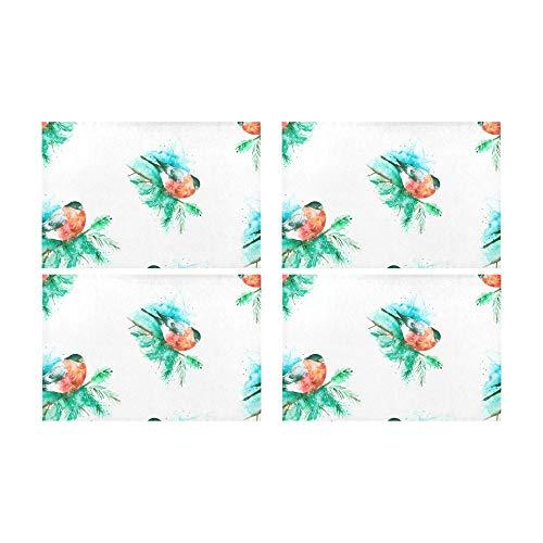 Qdosk Papageien und Palm Tree Leaves Küche gedruckt fleckabweisend Wärmedämmung waschbar quadratische Tischset Tischset für Baby und Frauen runden Esstisch 12
