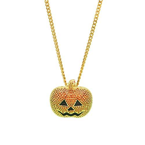 XIRENZHANG Besondere Halloween Schmuck Jack Pumpkin Lights Micro Zirkon Anhänger Jack O 'Lantern (Gold, Schwarz)-gold