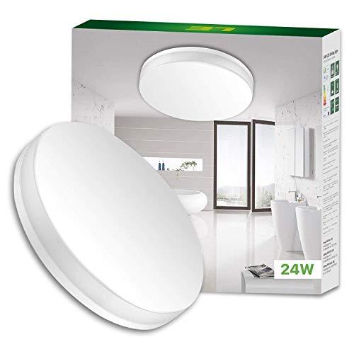 Lighting EVER LE 24W Kaltweiß Deckenleuchte, Wasserfest 2400lm LED Deckenlampe, Ideal für Bad, Balkon, Flur, Küche, Wohnzimmer usw.