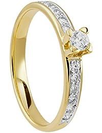 Diamond Line Damen - Ring 585er Gold 13 Diamanten ca. 0,30 ct., gelbgold