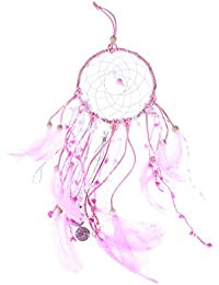 Vosarea Handmade Lovely Dreamcatcher With Feathers And Ornaments Pink Dream Catcher For Car Home Decoration With...