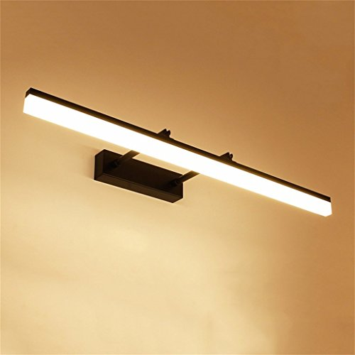 GCCI Foto- / LED-Licht an der Vorderseite leuchtet Anti-Mist-Spiegelschrank für WC-Badezimmer versiegelt WC-Lampe leuchtet einfache Wand, einstellbar 180 Grad; (schwarz) Pathfinder,Warmes Licht 40cm