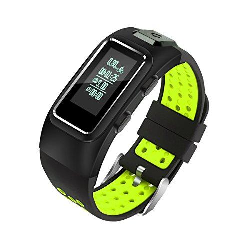 DIGGRO DB10 - Fitness Armband mit eingebautes GPS (IP67, lange Standby-Zeit, Temperatur Luftdruck Höhenmesser, 4 Sport-Modi, Pulsmesser Schrittzähler Schlafanalyse Kalorienzähler für ios Android)