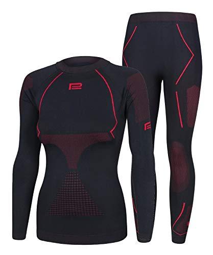 Prosske Seamless Funktionsunterwäsche Damen Thermo Extreme 2.0 Set Thermounterwäsche Skiunterwäsche Atmungsaktiv (schwarz-rot, L/XL)
