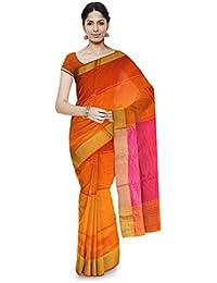 Mahima Emporium Maheshwari Handloom Cotton and Silk Saree (Yellow)