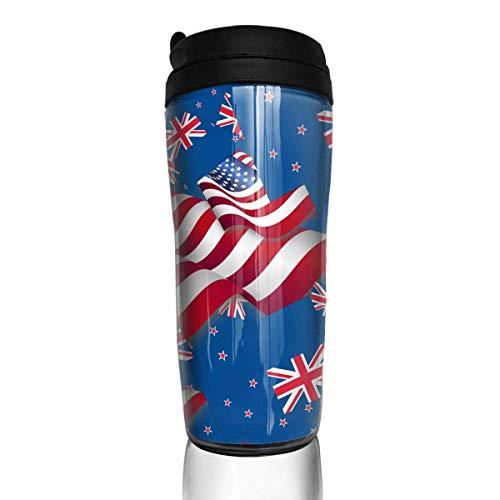 Reise-Kaffeetasse-Neuseeland-Flagge mit Amerika-Flaggen-Wasser-Flasche Umweltschutz-Material ABS 12 Unze (Wasser-flaschen 12 Unzen)