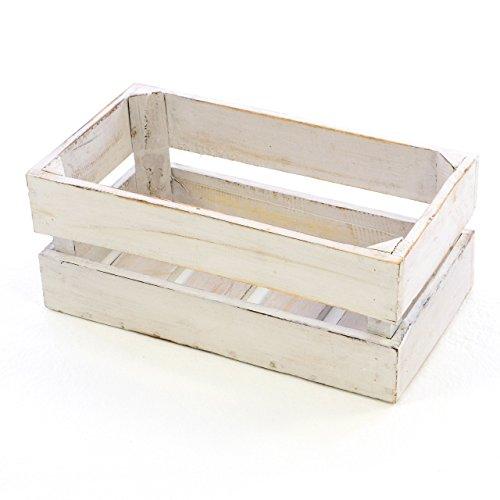 """Divero Vintage Holzkiste weiß Staubox Weinkiste Obstkiste Aufbewahrungsbox Größe Klein """"S"""" 42 x 23cm x 17cm Stapelbox Regal-Box"""