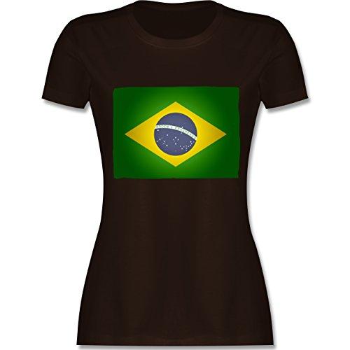 Länder - Flagge Brasilien - tailliertes Premium T-Shirt mit Rundhalsausschnitt für Damen Braun