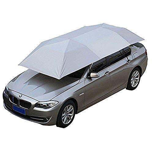 PXQ Halb automatische Markise Zelt Auto Abdeckung Outdoor wasserdichte Gefaltet Tragbare Auto-überdachung Abdeckung Anti-UV Sun Shelter Auto Dachzelt,Silver
