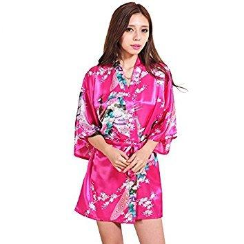 nalmatoionme Lady Kurz Pfau Blossom Seide Fleck Kimono Bademantel Bademantel Bademantel (Rose) (Blossom Bademantel)