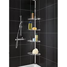Hartleys - Scaffale angolare a 4 ripiani per doccia regolabile e facile da montare - Acciaio