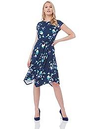 07017070abac5e Roman Originals Damen Kleid mit Blümchendruck und Zipfelsaum - Damen,  Skater, Jersey, Vintage