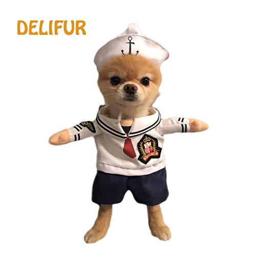 Katze Blaue Kostüm - Delifur Pet Kostüm Sailor Hund Katze Tragetasche Kostüm mit Hut Spuk-Nacht, Halloween Haustier Kleidung für Kleine Hund Katze Puppy, M, Blau
