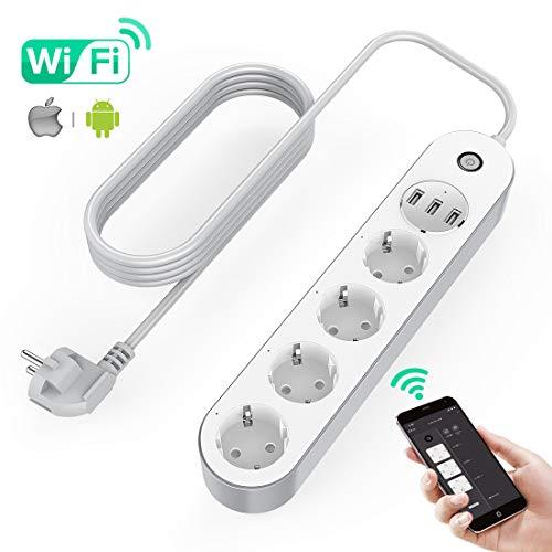 KinCam Multipresa Ciabatta Elettrica WiFi, Ciabatta Smart con 4 Prese e 3 USB, Supporta Controllo Vocale/Telecomando/Timer per App, Compatibile con Alexa Google Home e IFTTT Multipresa Intelligente