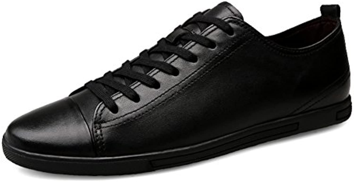 Toptak Herren Leather Schwarz Low Schnür Sneakers Classic Foundation Turnschuhe