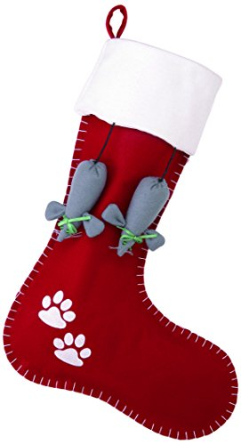 Christmas Stocking with Kitty Paw Prints and Mice by Peking Handicraft -