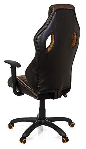 41BzVNFfWpL - hjh OFFICE 621880 RACER VINTAGE IV - Silla Gaming y oficina,  piel sintética marrón