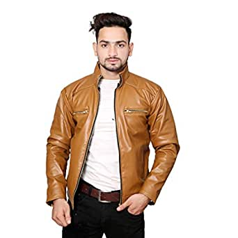 Life Trading Hot Released Faux Leather Jacket for Mens and Boys (Beige, Medium)