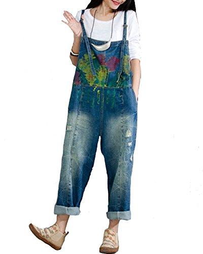 Aeneontrue Damen Hosentrager Spielanzug Harem Breites Bein Capri Jumpsuit Hosen Blumenmuster Gerissen Latzhosen Jeans mit Taschen Brau