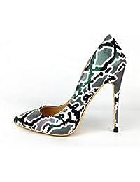 a7eab728d VIVIOO Zapatillas de Mujer Zapatos con Estampado de Serpiente Mujer Punta  Estrecha Tacones Altos Zapatos Zapatos