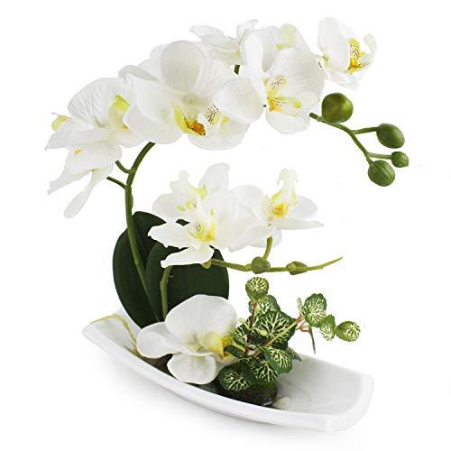 True holiday composizione di orchidee artificiali, perfetta per vasi di porcellana bianca, come decorazione per interni, in plastica e realistica a-bianco-1