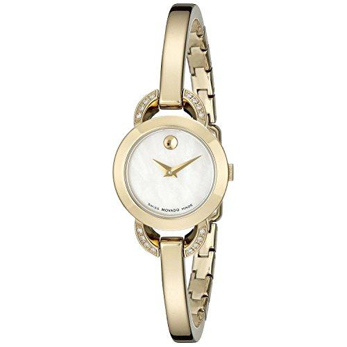 Movado Women's Gold Tone Steel Bracelet & Case Swiss Quartz MOP Dial Analog Watch 0606889