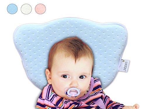 Jabbies | Orthopädisches Babykissen | Vorbeugung von Plagiozephalie (Schiefschädel-Kopfform & Verformung) | Babykopfkissen gegen Plattkopf | atmungsaktiv & weich mit Memory Foam | SGS zertifiziert (Blau)