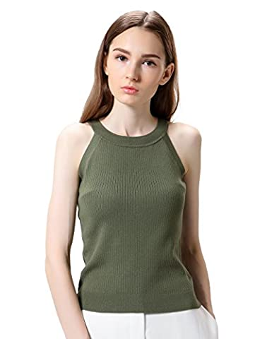 Women Cable Rib Knit Roundneck Shaping Vest Top PD055K (XS, Olive Green)